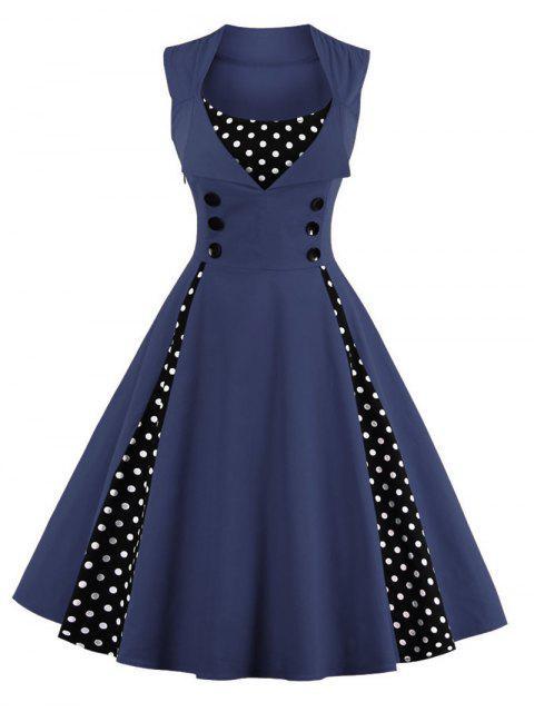 Robe de Bal Midi Vintage à Pois - Bleu Violet XL Mobile