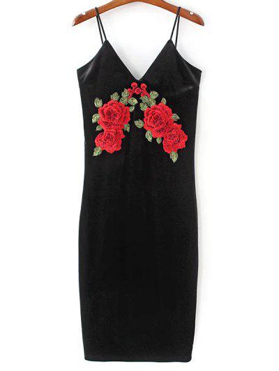 Embroidered Velvet Cami Prom Dresses - Black M