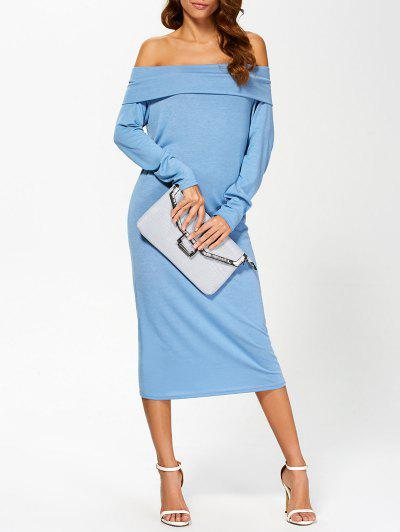 Foldover Off The Shoulder Midi Dress - Blue L