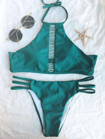 Ladder Crochet High Neck Bikini - Green L