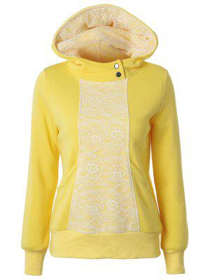 Lace Trimmed Pullover Hoodie - Yellow M