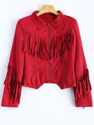 Tasselled Cropped Faux Suede Jacket - Red 2xl