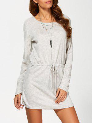Open Back Drawstring Waist Sweater Dress - Gray L