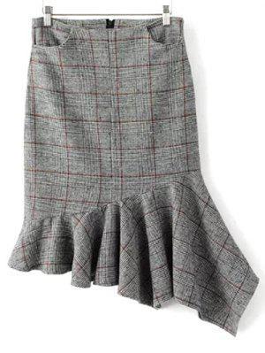 Plaid Tweed Mermaid Skirt - Gray S