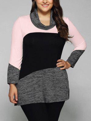 Heathered Cowl Neck Plus Size Blouse - Pink 4xl