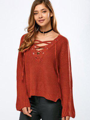 High Low V Neck Lace Up Sweater - Orange