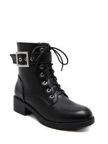 مكتنزة كعب مشبك حزام الأحذية القتالية - أسود 38