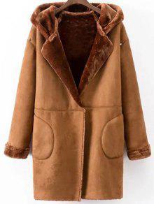 Hooded Faux Shearling Coat - Camel L
