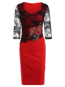 Vestido Lápiz Empalmado Floral Encaje Bordado  - Rojo S