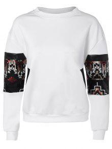 Parcheado La Camiseta De Lentejuelas - Blanco M