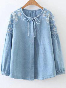 Embroidered Shoulder Denim Blouse - Denim Blue S