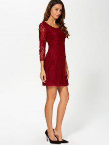 Wine red mesh and lace splicing a dress