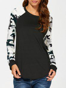 Raglan Sleeve Camouflage T-Shirt - Black L
