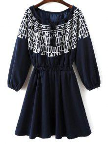 Contrasting Embroidery Long Sleeve Dress - Midnight S