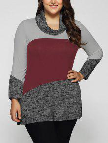 Heathered Cowl Neck Plus Size Blouse - Dark Red 3xl