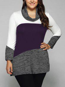 Heathered Cowl Neck Plus Size Blouse - Concord 3xl