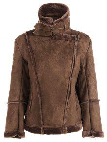Faux Shearling Jacket - Coffee M
