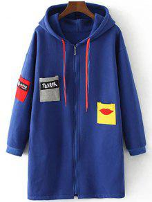 Patched Zip-Up Hoodie - Sapphire Blue 3xl