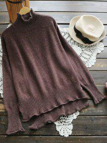 Buy High Low Neck Knitwear - COFFEE ONE SIZE