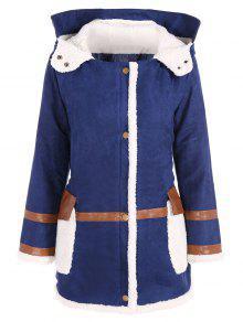 Faux Suede Hooded Coat - Blue Xl