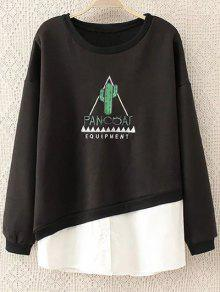 Chemise Brodée Paneled Sweatshirt - Noir 3xl