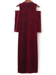فستان الكتف الكتف البارد - أحمر L