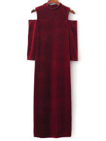 فستان الكتف الكتف البارد - أحمر M