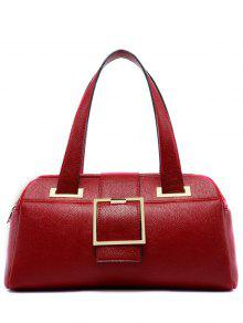 Buckle Strap Textured PU Leather Tote - Red
