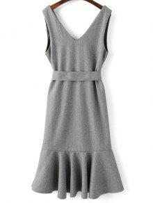 Sleeveless Peplum Hem Wool Blend Dress - Gray M
