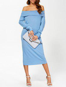 Foldover Off The Shoulder Midi Dress - Blue S