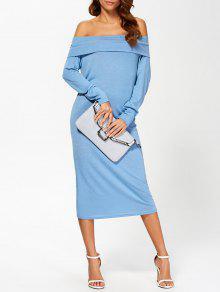 فستان الحفلة بلا اكتاف طويلة الأكمام - أزرق M