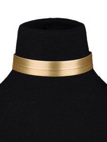Collar De Gargantilla De Cuero Sintético - Dorado