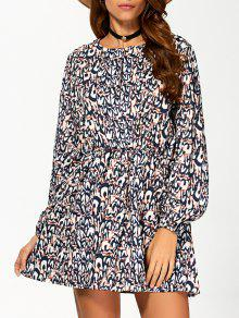 Round Neck 3/4 Sleeveless Printed Dress - S