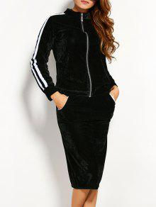 Pleuche Jacket With Pencil Skirt - Black Xl