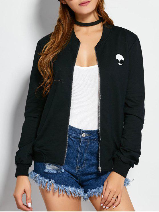 womens Zip Up Alien Sweatshirt Jacket - BLACK M