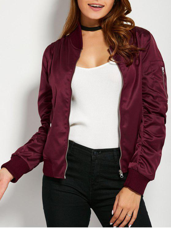 ladies Pockets Bomber Jacket - BURGUNDY M