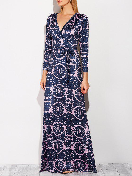 تغرق الرقبة التعادل مصبوغ فستان ماكسي - الأرجواني الأزرق L