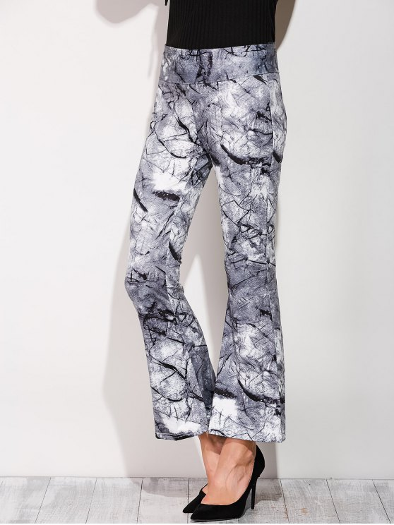 hot Slimming Boot Cut Pants With Chinese Painting - COLORMIX L