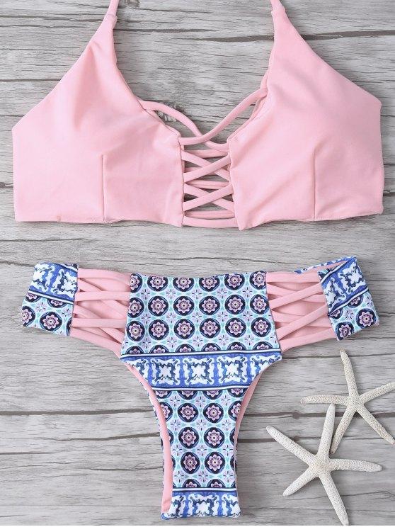 Bikini dos croisé imprimé tribal - ROSE PÂLE L