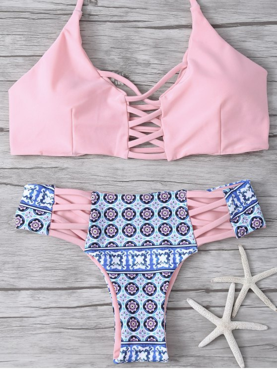 Bikini dos croisé imprimé tribal - ROSE PÂLE S