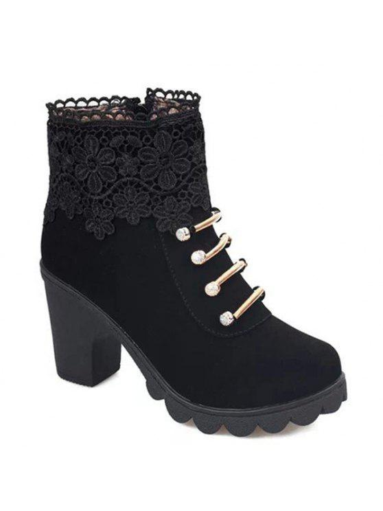 women Metal Embroidery Zipper Ankle Boots - BLACK 40