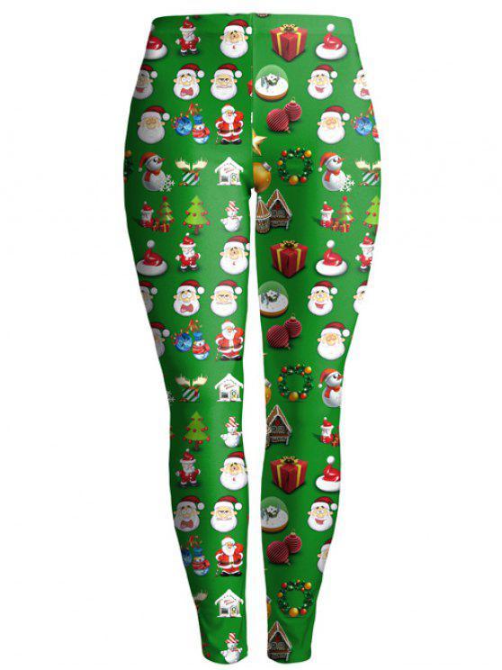 Leggings Tobillo Estampado Navidad Papá Noel - Verde XL