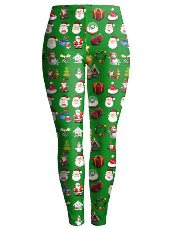 online Christmas Gift Print Ankle Leggings - GREEN M