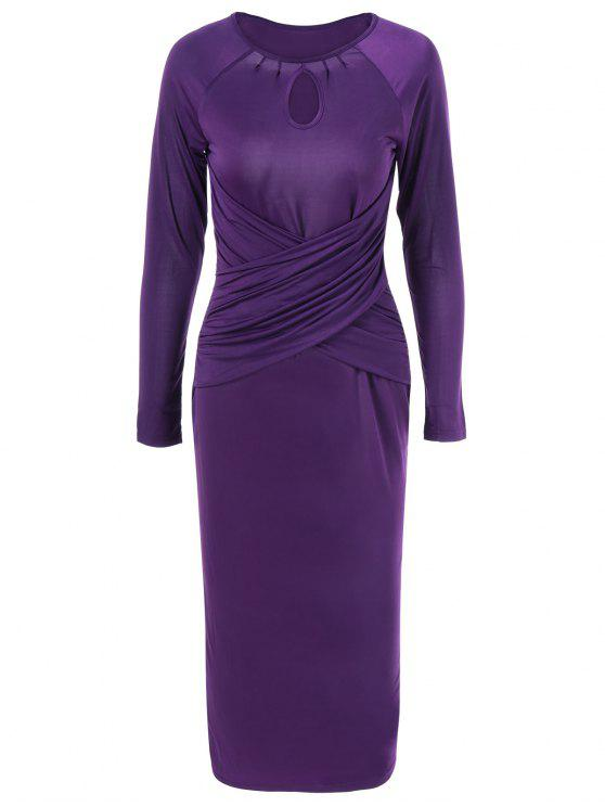shop Midi Bodycon Keyhole Collar Dress with Long Sleeve - PURPLE M