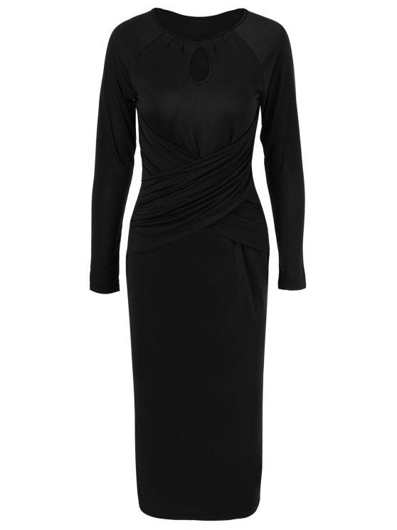 women's Midi Bodycon Keyhole Collar Dress with Long Sleeve - BLACK L