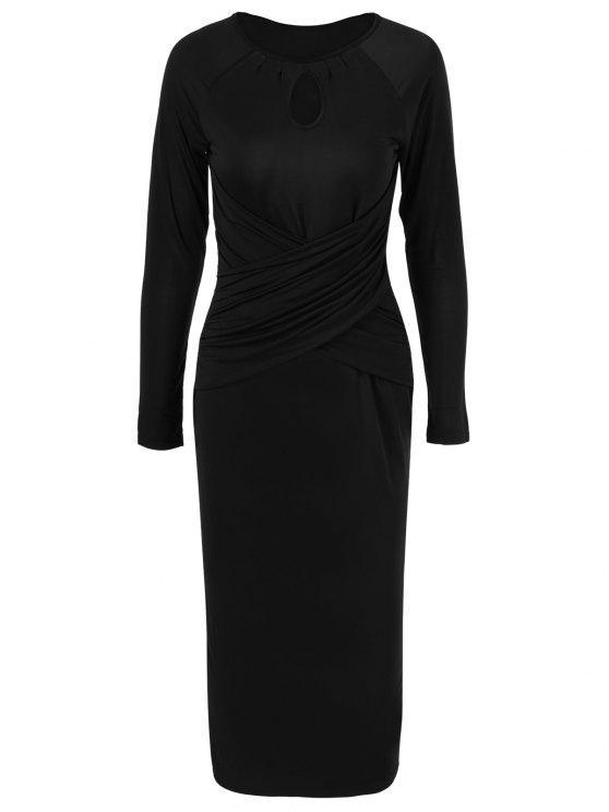 Midi - Bodycon - Kleid mit Schlüssellochkragen und langem Arm - Schwarz L