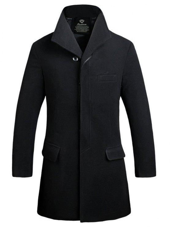 Button Up tasca della falda in misto lana del cappotto - Nero XL