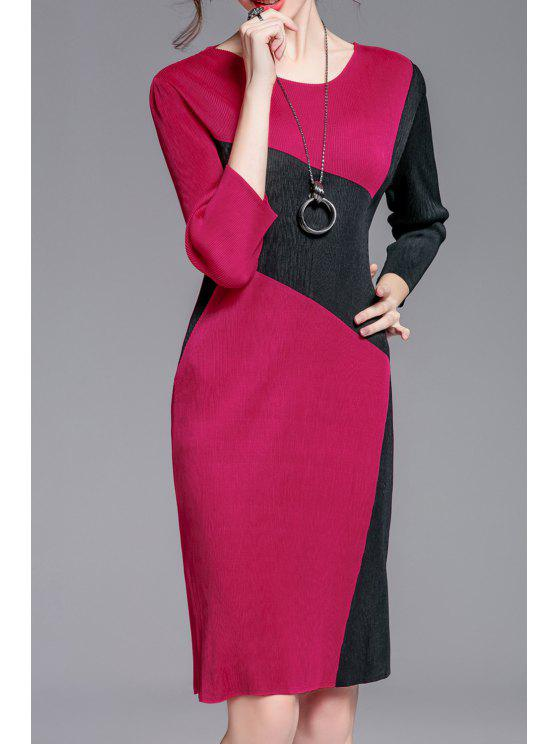 shops Jewel Neck Color Block Sheath Dress - TUTTI FRUTTI ONE SIZE