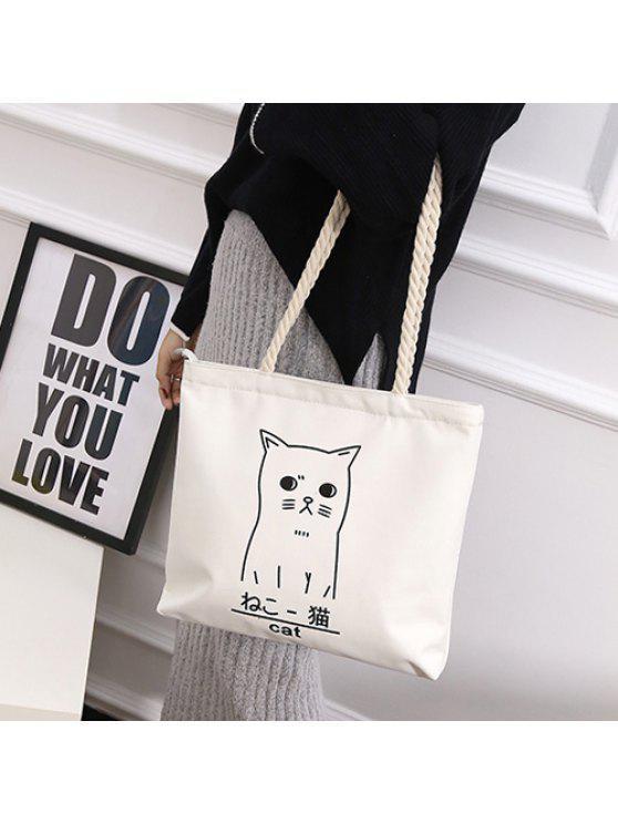 حبل القنب الحيوان طباعة حقائب اليد - أبيض