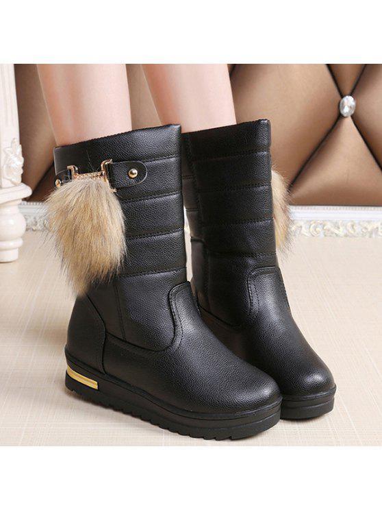 حذاء جلدي مزين بالفرو الصناعي - أسود 38